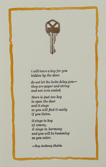 keys print by Roy Anthony Shabla ~ i will leave a key for you